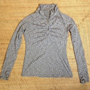 Athleta grey textured zip-up sweatshirt size S